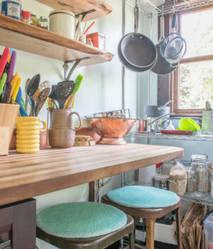 Colorful kitchen with light streaming through the window