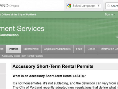 Portland Accessory Short-Term Rental Permits
