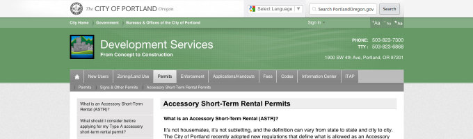 Portland Accessory Short-Term Rental Permits