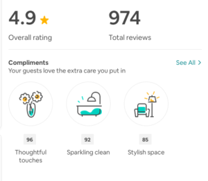 screenshot of a host's review overview screen
