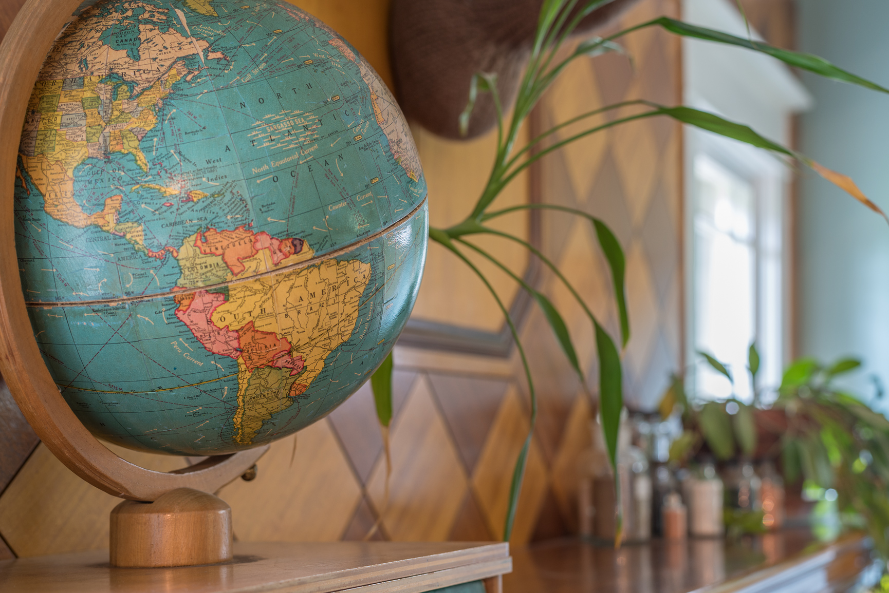 An old globe featuring South America is in the foreground with a stylish, two-toned paneled wall and plants artfully blurred in the background